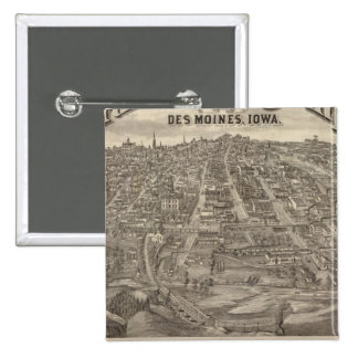 City of DesMoines from South Park Hill 15 Cm Square Badge