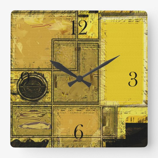 City of Gold Urban Abstract Art Clock