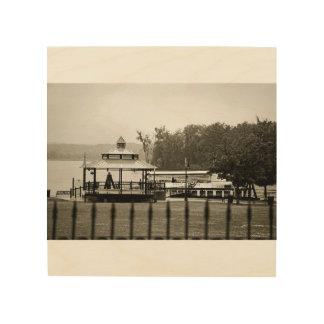 City of Hudson Waterfront B&W Photograph Wood Wall Decor
