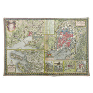 City of La Rochelle Map Siege in 1627-28 and 1773 Placemats