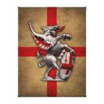 City of London Dragon on Old English Flag Gallery Wrap Canvas