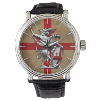 City of London Dragon on Old English Flag Wrist Watch