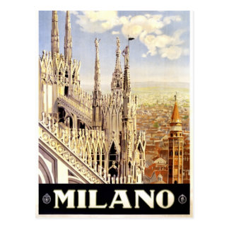 City of Milan Italian Travel Poster 1920 Postcard