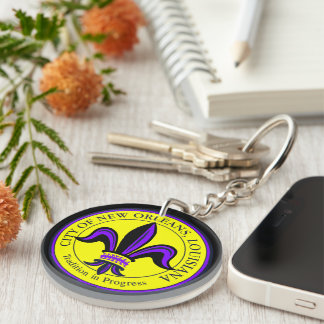 City of New Orleans, LA Fleur de Lis Double-Sided Round Acrylic Key Ring