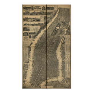 City of New York 1879 Antique Panoramic Map Poster