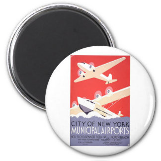 City Of New York Airports 6 Cm Round Magnet