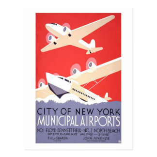 City Of New York Airports Postcard