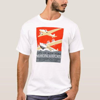 City of New York Municipal Airports Vintage Poster T-Shirt
