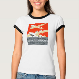 City of New York Municipal Airports Vintage Poster Tee Shirts