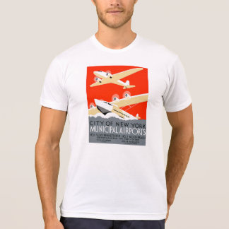City of New York Municipal Airports Vintage Poster Tee Shirt