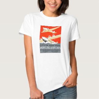 City of New York Municipal Airports Vintage Poster Shirts