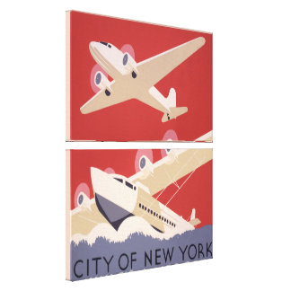 City of New York | Vintage Airplanes WPA Poster Canvas Print