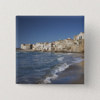 City of old buildings on beach 15 cm square badge