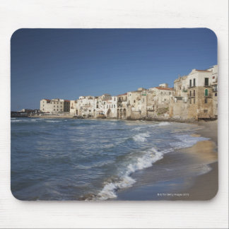 City of old buildings on beach mouse pad