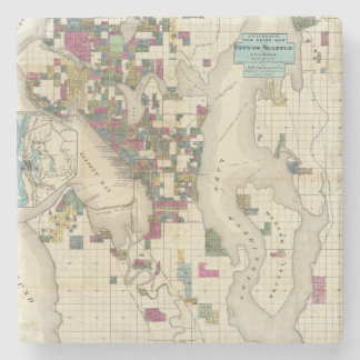 City Of Seattle And Environs Stone Coaster