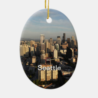 City of Seattle. View from city tower. Landscape Christmas Ornament