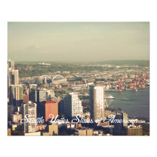 City of Seattle. View from city tower. Landscape 11.5 Cm X 14 Cm Flyer
