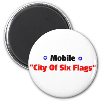 City of six flags 6 cm round magnet