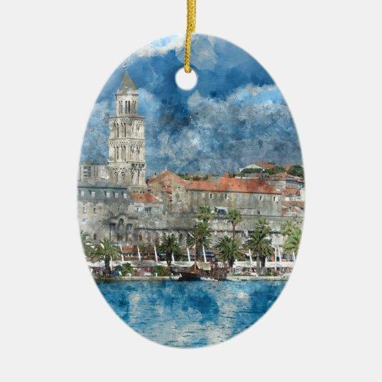 City of Split in Croatia Ceramic Oval Decoration