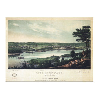 City of St. Paul, Capital of Minnesota (1853) Stretched Canvas Prints