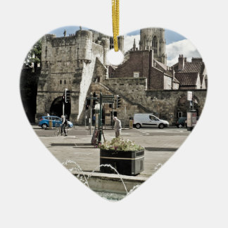 City of York Exhibition Square with the minster Ceramic Heart Decoration