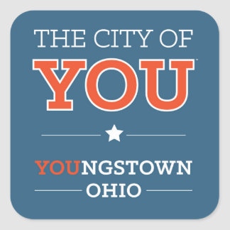 City of You Blue Square Stickers, Glossy Square Sticker