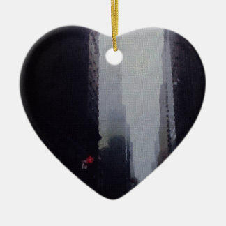 City Painting Ceramic Heart Decoration