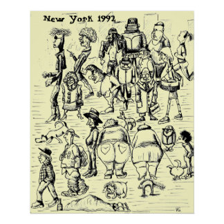 City people, New York 1992 art poster