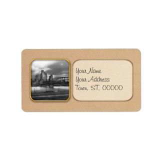 City - Pittsburgh, PA - Smithfield Bridge BW Address Label
