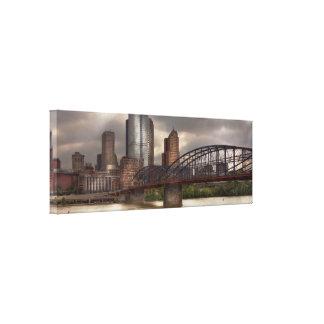 City - Pittsburgh, PA - Smithfield Bridge Gallery Wrap Canvas