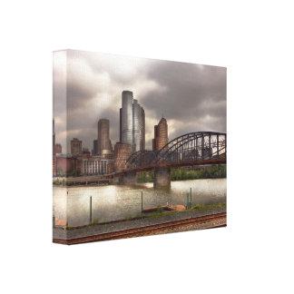 City - Pittsburgh, PA - Smithfield Bridge Stretched Canvas Print