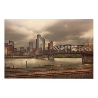 City - Pittsburgh, PA - Smithfield Bridge Wood Prints