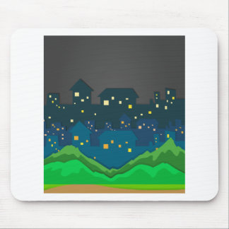 City scene at night time mouse pad