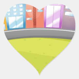 City scene by the river heart sticker