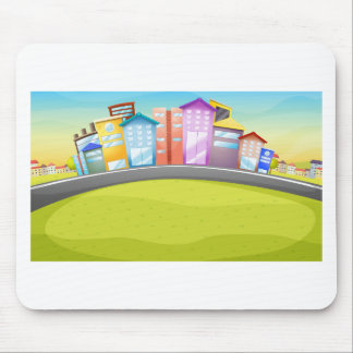 City scene by the river mouse pad