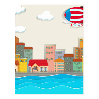 City scene by the river postcard