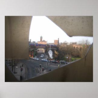 City Scene Through Cracked Panel Poster