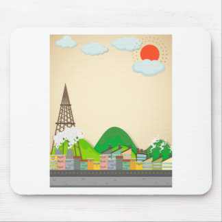 City scene with buildings and street mouse pad