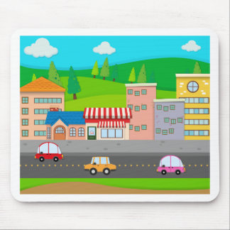 City scene with cars on the road mouse pad