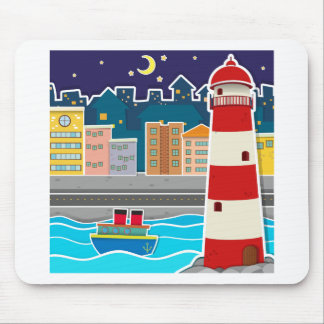 City scene with lighthouse and river at night mouse pad