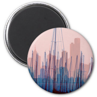 City Skyline 6 Cm Round Magnet