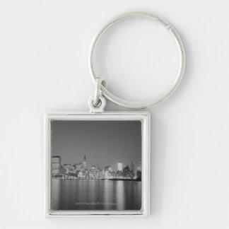City skyline at night key ring