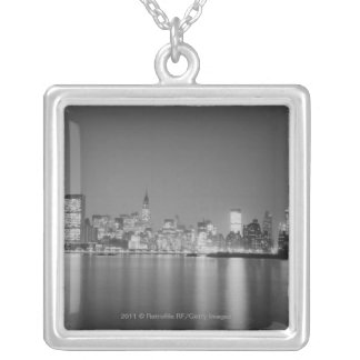 City skyline at night silver plated necklace