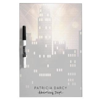 City skyline corporate office employee name dry erase board