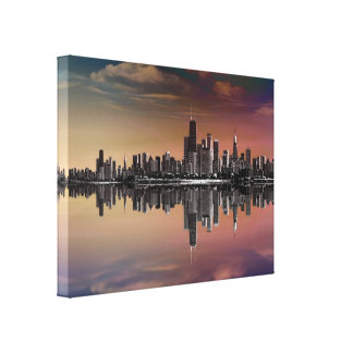 City Skyline Dusk Canvas Print