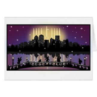 City Skyline Hanukkah Menorah Card