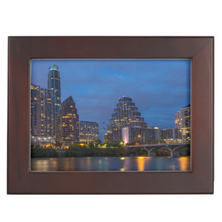 City Skyline Reflects Into Lady Bird Lake Keepsake Box