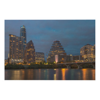 City Skyline Reflects Into Lady Bird Lake Wood Wall Decor