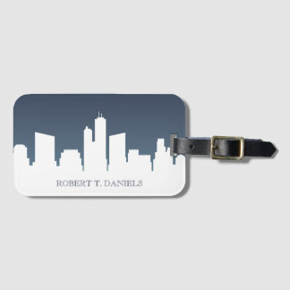 City Skyline | White & Navy Blue Luggage Tag