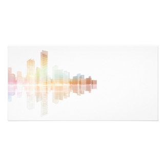 City skyscrapers and office buildings picture card